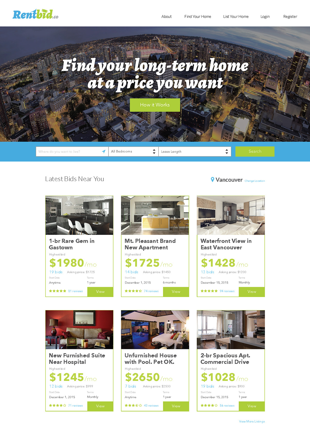 Startup Rentbid UX/UI design project custom landing page with search results