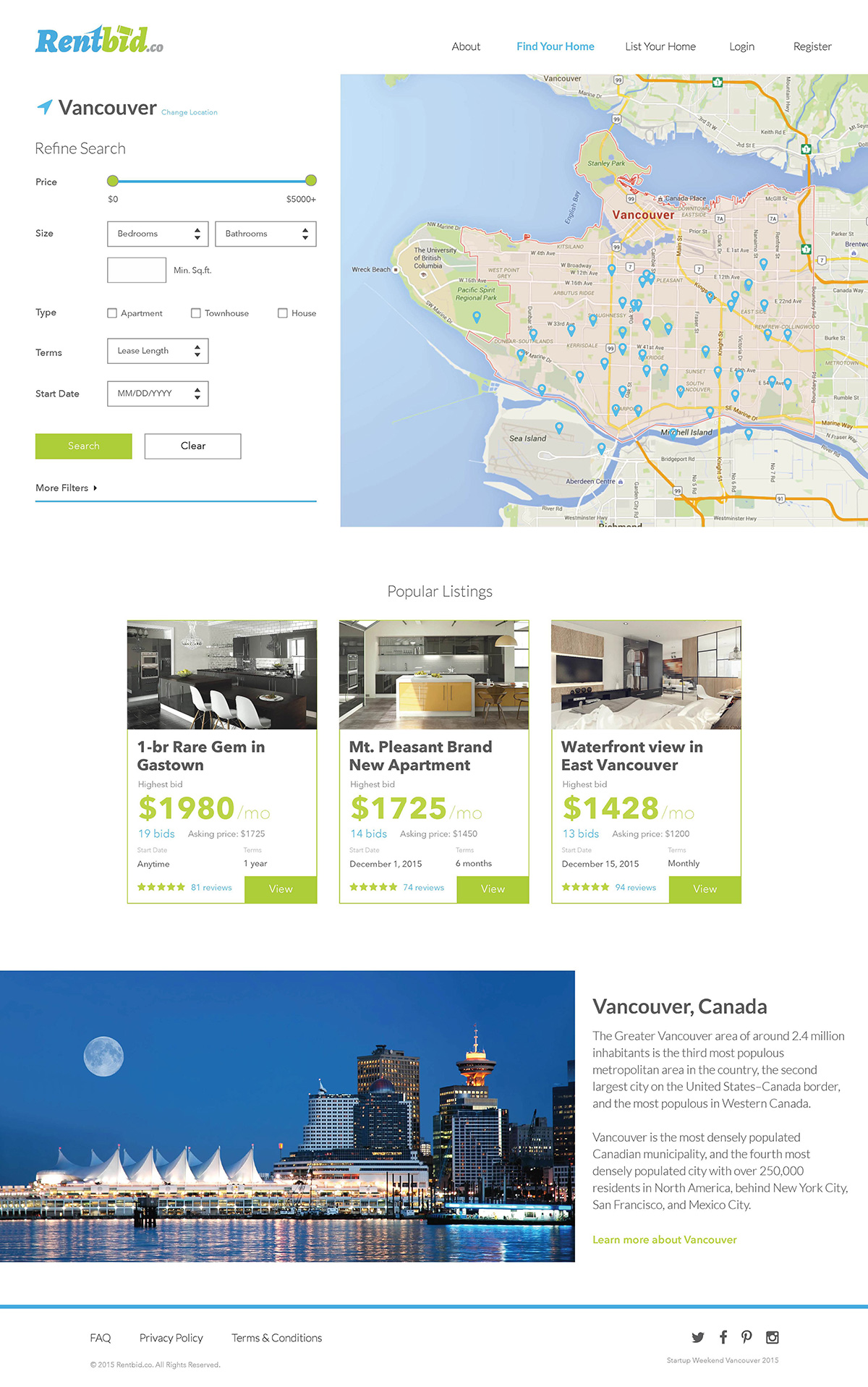 Startup Rentbid UX/UI design project custom search function based on location