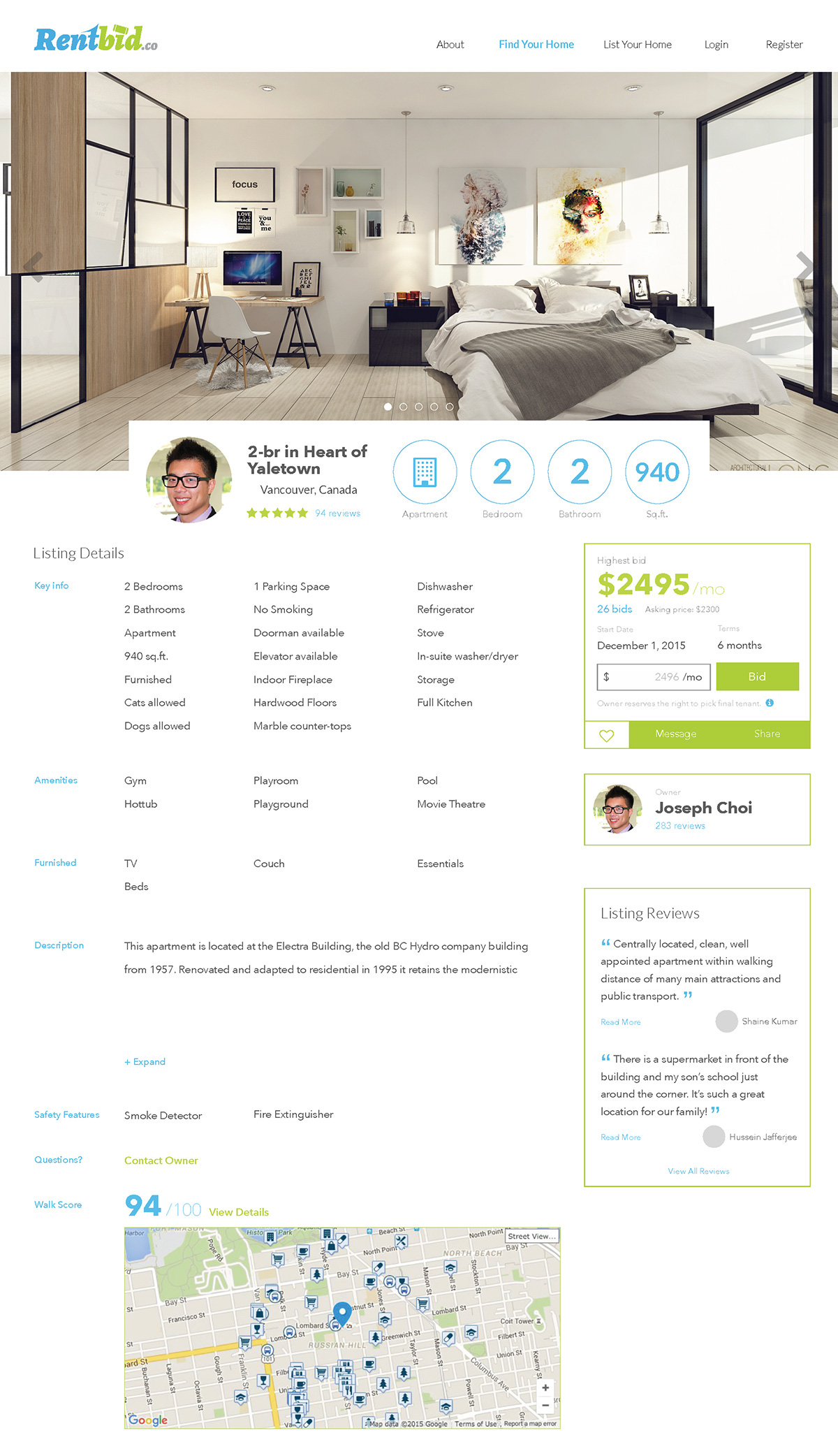 Startup Rentbid UX/UI design project rental listing preview airbnb like layout