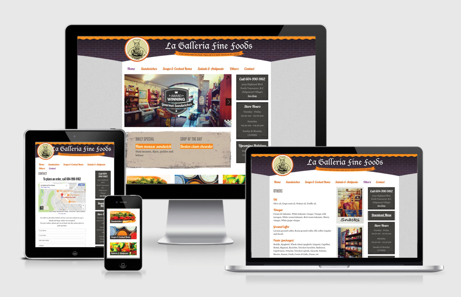 La Galleria Fine Foods Website